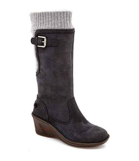 ugg 174 skyfall knit wedge sweater boots dillards