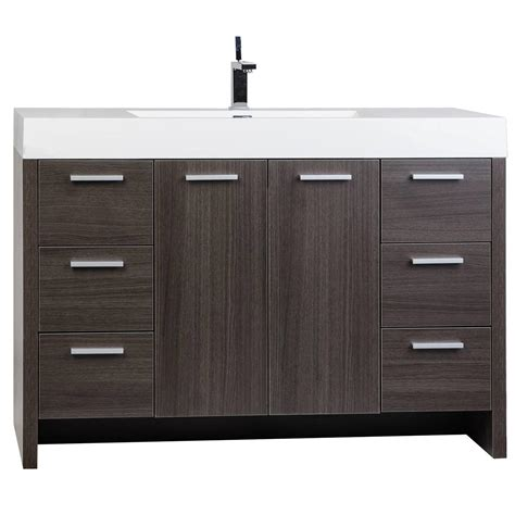 buy 47 25 inch modern bathroom vanity grey oak finish tn