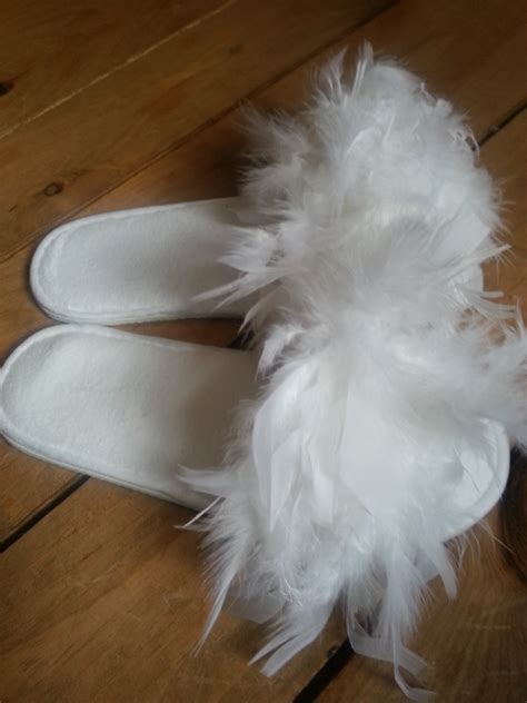 bridal slippers fluffy slippers feathers white wedding made by a stay