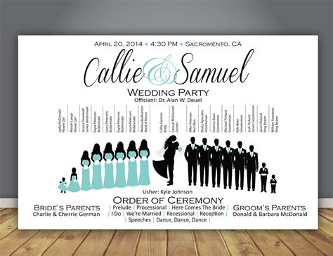 Layout Of Wedding Party | silhouette wedding program wedding party horizontal layout