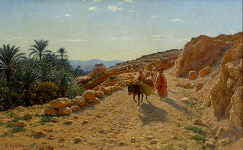 gadan antoine oil on canvas painting signed desert landscape with figures on a road
