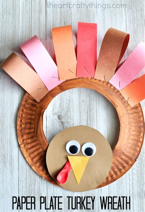 Turkey Papercraft - paper plate thanksgiving turkey wreath i crafty things