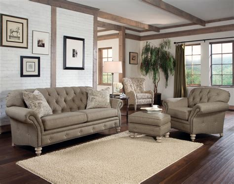 ottoman living room rustic modern living room with light brown tufted sofa