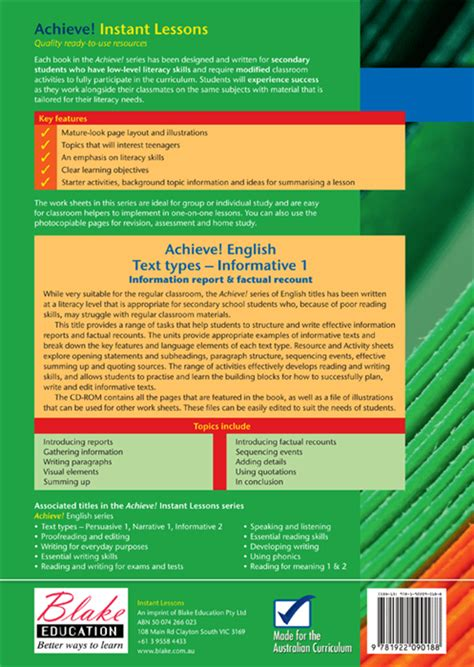 different types of book reports achieve text types informative book 1