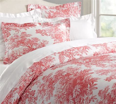 red toile bedding matine toile duvet cover sham pottery barn