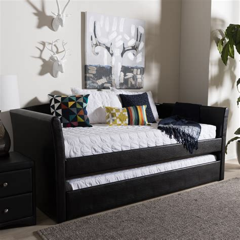 Design For Trundle Day Beds Ideas Decor Black Day Beds With Trundle With White Bedding Design Idea