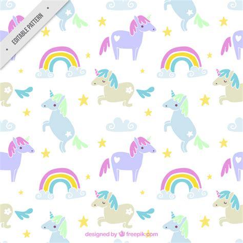 cute unicorn pattern hand drawn several unicorn with cute rainbow pattern