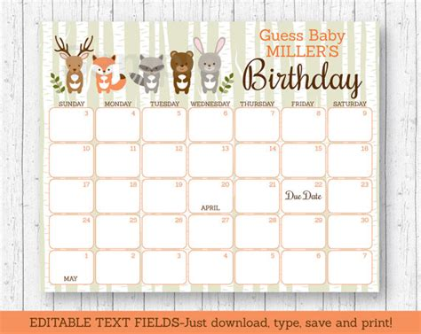 Baby Prediction Calendar Woodland Animal Baby Shower Due Date Calendar Woodland