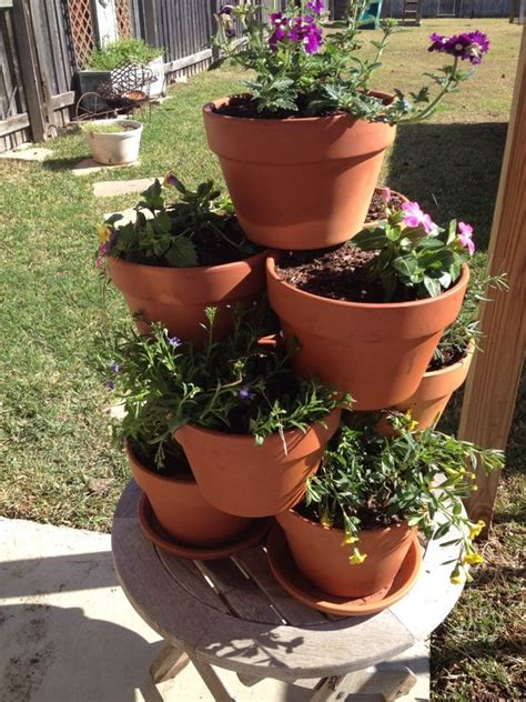 diy flower clay pot tower projects  garden
