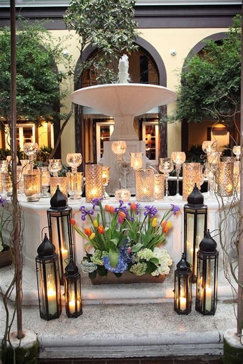 Elegant courtyard fountain decoration at Hotel Mazarin