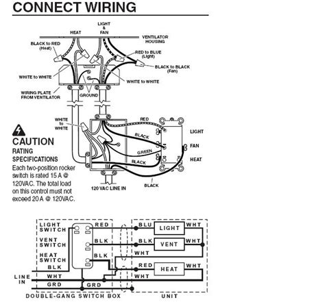broan exhaust fan and light combo wiring diagram wiring