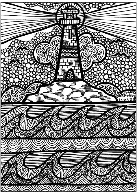 Lines of the Lighthouse - Zentangle Adult Coloring Pages