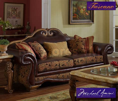 traditional fabric high back sofas quot michael amini quot leather fabric high back sofa tuscano
