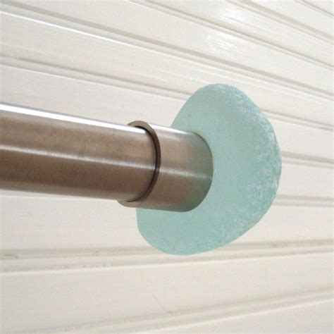 glass finial curtain rod sea glass recycled stone curtain rod finial beachyrustica
