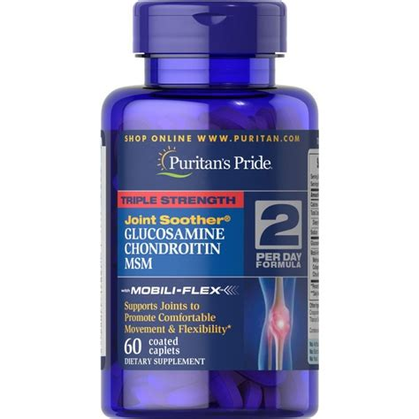 strength glucosamine chondroitin msm joint soother 60 caplets by puritan s pride