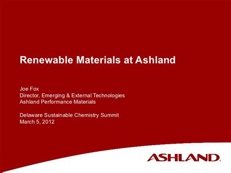 Ashland Mba Review by Renewable Materials At Ashland