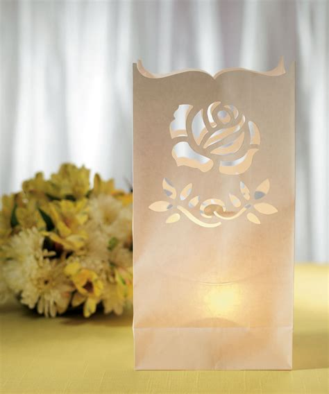 patterns for paper bag luminaries light the way white path luminary rose pattern wedding