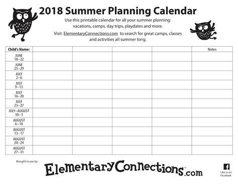 printable calendar summer 2018 2018 summer planning calendar