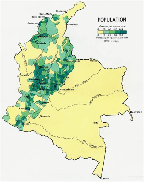 map of colombia south america detailed population map of colombia 1970 colombia