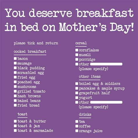 mother s day breakfast in bed breakfast in bed mothers day card by edith bob notonthehighstreet com