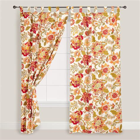 floral drapes floral kavita cotton tab top curtain world market