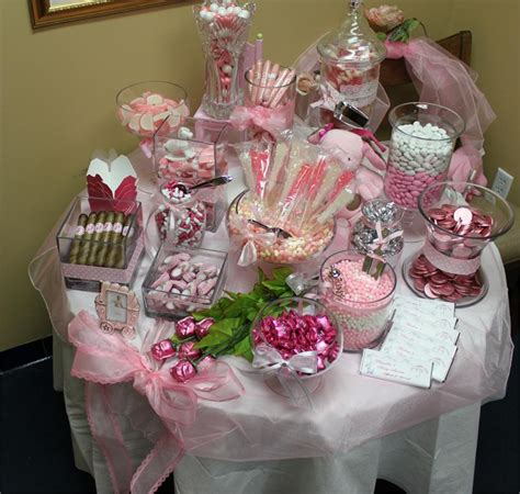 pink baby shower candy buffet
