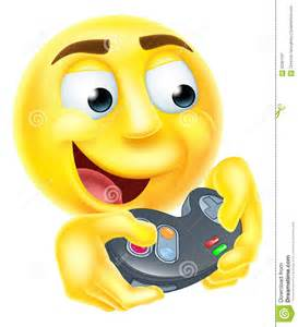 Gamer cartoon emoji emoticon smiley face character holding a video