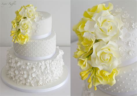 Wedding Cake Yellow Roses by Yellow Wedding Cake