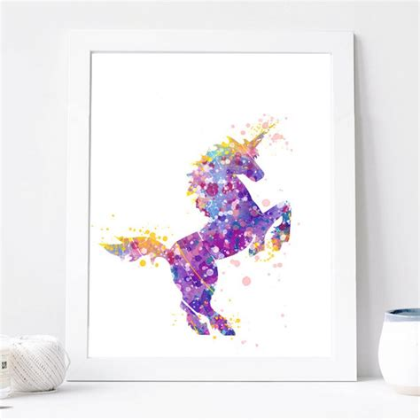purple printable wall art unicorn print watercolor wall art print unicorn room