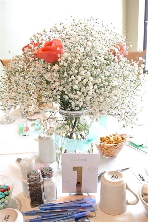 Baby It S Cold Outside Shower Mint Coral Baby S Breath Coral Centerpiece Ideas