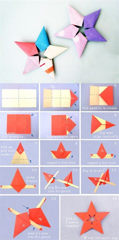 Printable Origami Patterns - sheriff steps折纸手工 五角星 警长星 的折法 origami crafts for