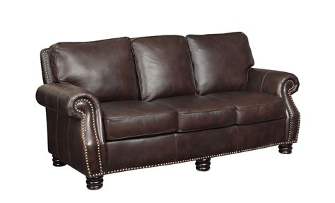 Leather Sofa With Studs Coaster Brown Traditional Leather Sofa With Scoop Arms And Nailhead Studs Goedekers