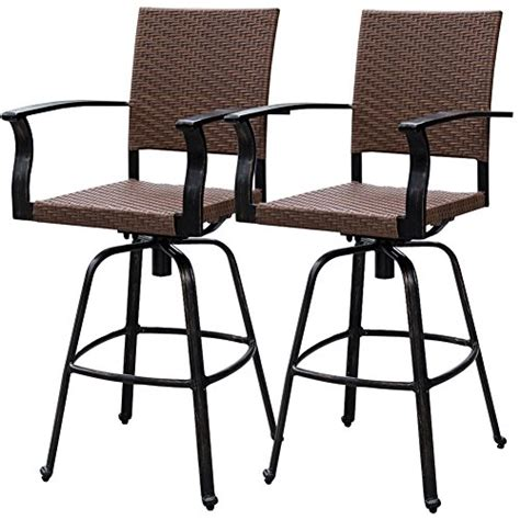 Bar Stool Height Outdoor Chairs by Sundale Outdoor 2 Pcs Brown Wicker Bar Height Swivel Bar