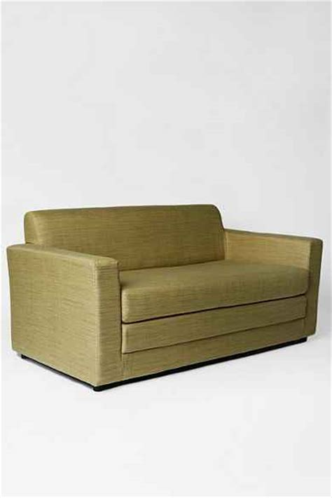 small compact anywhere sleeper sofa in grey green tea at