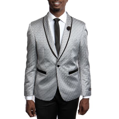 Mj Grey Set Suspender silver and grey slim fit tuxedo jacket with pattern