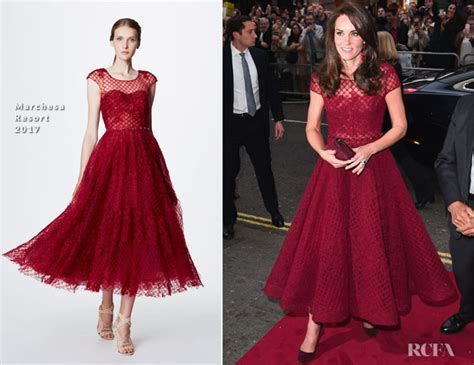 Catwalk To Carpet Nicky In Marchesa by Catherine Duchess Of Cambridge In Marchesa Notte The