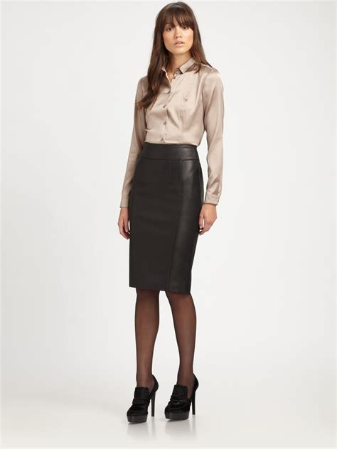 what to wear with a high waisted pencil skirt brown