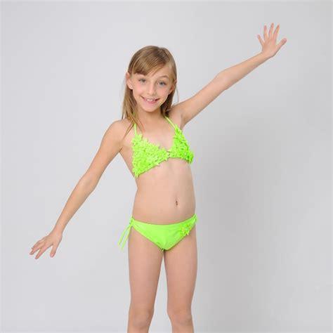 children swimsuits bikinis 2015 new floral soild big girls swimwear two pieces