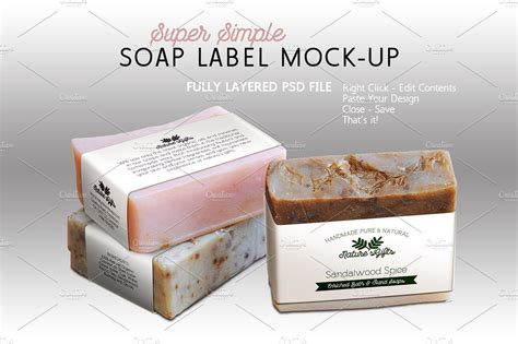 Soap Label Mock Up Horizontal Templates Creative Market Soap Packaging Design Template