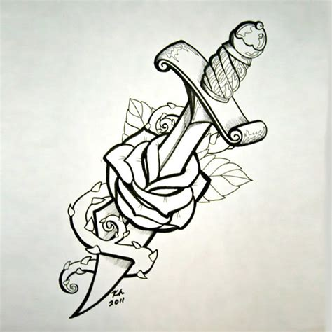 dagger through rose tattoo design