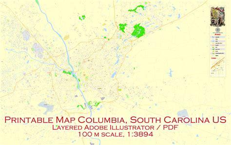 printable map of usc cus map columbia pdf editable exact vector city plan 100
