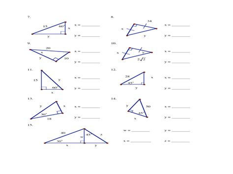 special right triangles geometry worksheet worksheets for