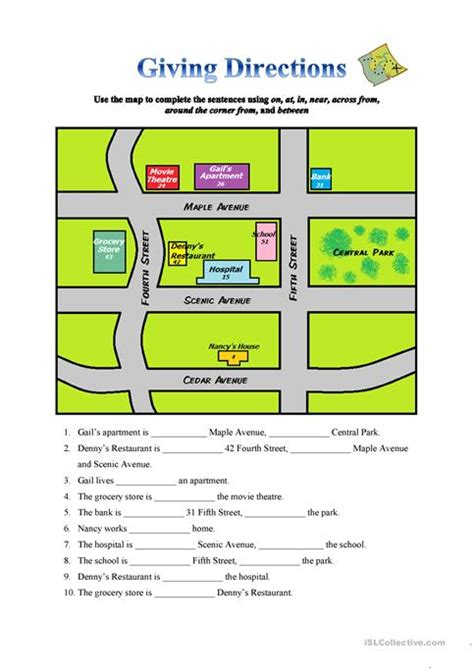 printable map directions directions worksheet worksheets for all and