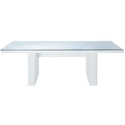 table de jardin en verre tremp 233 et r 233 sine tress 233 e blanche