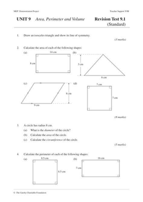 pattern rule for perimeters area perimeter volume mep year 9 unit 9 by cimt