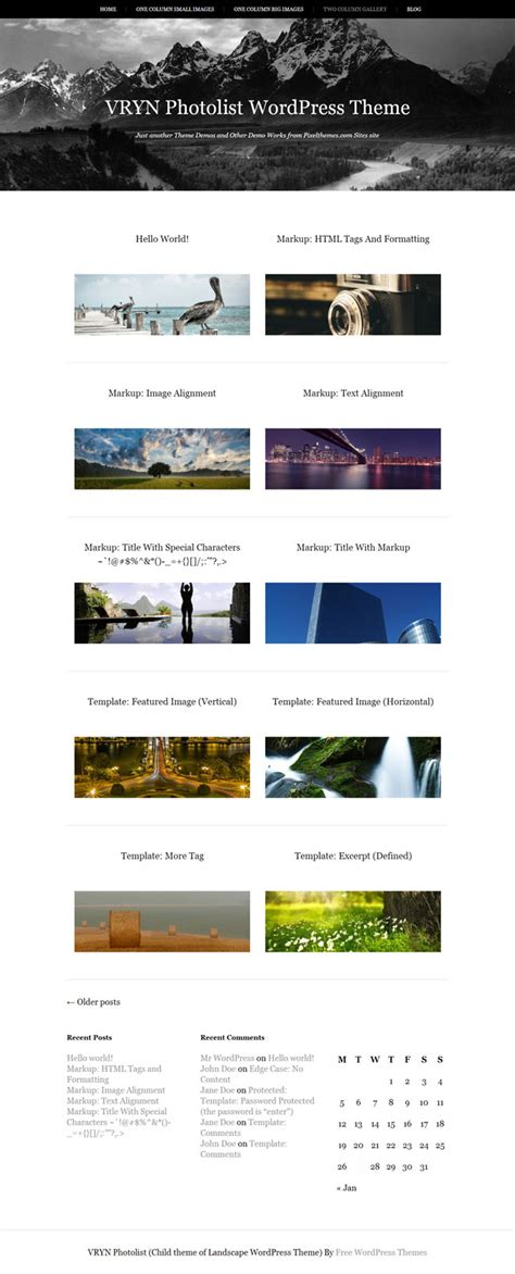 vryn photolist a free wordpress theme for photo display