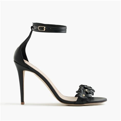 black high heel ankle sandals j crew leather flower high heel ankle sandals in