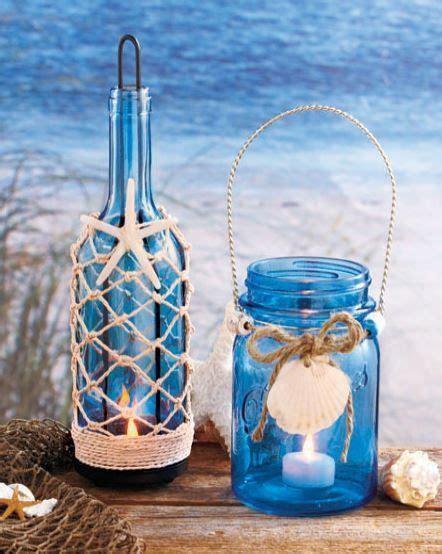 Seaside Blue Green Glass Mason Jar Bottle LED Tea Light