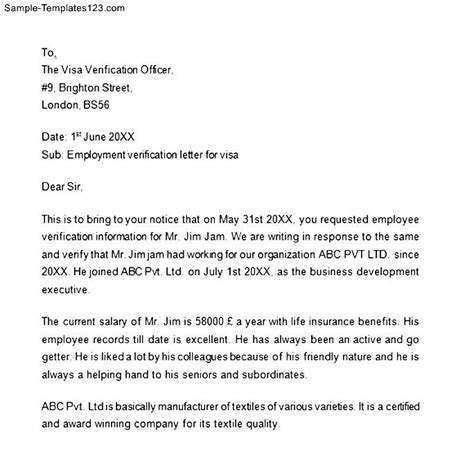 Employment Letter For Visa Application Canada Employment Letter For Visa Verification Sle Templates