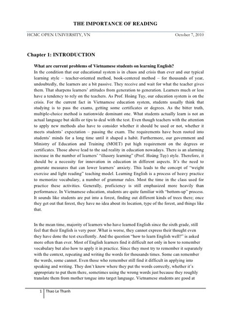 Essay About Reading by The Importance Of Reading On Teaching And Learning